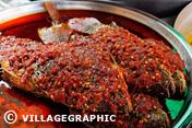 Photos Thailande - Poisson aux piments sur le marché dAyutthaya